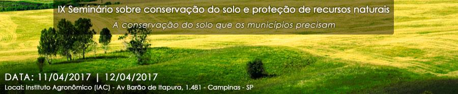 IX Seminário sobre conservação do solo e proteção de recursos naturais